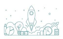 Startup web banner line art style. Business development vector illustration
