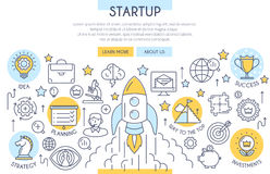 Startup Web Design Concept. Startup Banner Illustration with Icons. Web Design Concept in Flat Line Style. Vector illustration Royalty Free Stock Images