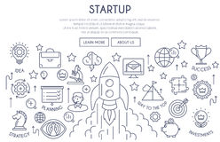 Startup Web Design Concept thin line Stock Image