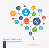 Startup, web development, light bulb, rocket launch integrated business vector icons. Digital mesh smart brain idea vector illustration