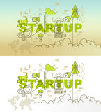 Startup web page banner concept with thin line flat design. Vector illustration eps-10 Stock Images