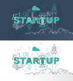 Startup web page banner concept with thin line flat design Royalty Free Stock Image
