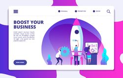 Startup website landing page. People launching rocket. Boost business easy. Customized vector concept royalty free illustration