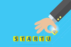 Startup word and businessman hand, business concept stock illustration