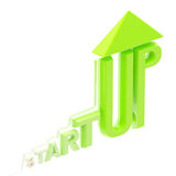 Startup word made as a growing stock graph. Isolated on white Stock Photos