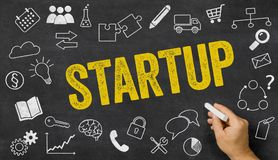 Startup written on a blackboard Royalty Free Stock Photo