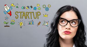 Startup with young businesswoman. In a thoughtful face Royalty Free Stock Image