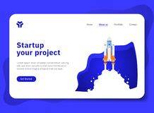 Startup your project with Spaceship Explorer. Startup your project for website with spaceship illustration. Modern flat design concept of landing page template royalty free illustration