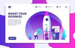 Startwebsitelandingspagina Mensen die raket lanceren Gemakkelijke verhogingszaken Aangepast vectorconcept royalty-vrije illustratie