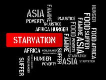 STARVATION - image with words associated with the topic FAMINE, word cloud, cube, letter, image, illustration Royalty Free Stock Images