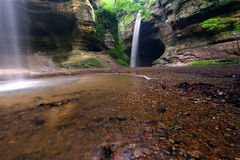 Starved Rock State Park. Waterfalls in Tonti Canyon at Starved Rock State Park Stock Images