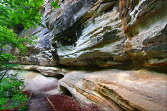 Starved Rock State Park. Steep stone cliff in a canyon of Starved Rock State Park in Illinois Stock Images