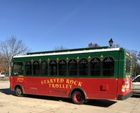 Starved Rock Trolley. This is a Fall picture of one of the trollies used for tours at Starved Rock State Park located in LaSalle County, Illinois.  This picture Royalty Free Stock Photos