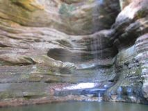 Starved rock. Waterfall in springtime Royalty Free Stock Photo