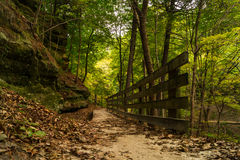 Starved Rock. Wooden pathway through Starved Rock during the change of the season Stock Image