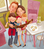 The starving family. The illustration of crisis metaphor - a family of parents and three children tighten their belt Stock Photos