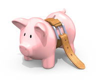 Starving piggy bank Stock Images