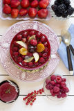 Starwberry pie with berries on table Royalty Free Stock Photography