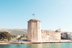 Stary średniowieczny forteca Trogir Kamerlengo kasztel zdjęcia stock