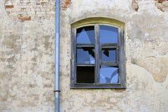 Stary łamający szklany okno Obraz Royalty Free