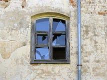 Stary łamający szklany okno Fotografia Royalty Free