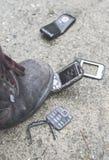 Stary łamający telefon komórkowy Obraz Stock