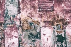Stary łatający podławy betonowej ściany grunge tło fotografia royalty free
