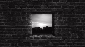 stary ściana okien Za ścianą Jaskrawa przyszłość Obrazy Stock