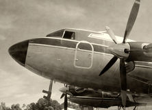 Stary śmigłowy samolotowy czarny i biały Zdjęcia Royalty Free