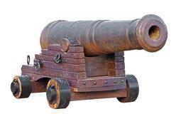 Stary średniowieczny artyleryjski kanon na bielu obrazy royalty free