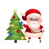Stary Święty Mikołaj dekoruje choinki ilustracja wektor