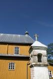 Stary żółty drewniany kościół fotografia stock