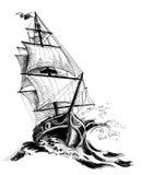 stary żeglowanie statek royalty ilustracja