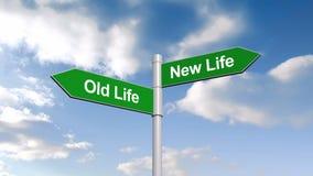 Stary życie i nowy życie kierunkowskaz przeciw niebieskiemu niebu zbiory wideo