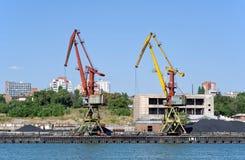 Stary ładunku port na rzecznym Don Don, Rosja Wrzesień 13, 2016 Obraz Royalty Free