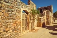 Stary Agios Nikolaos forteczny Spinalonga, Crete Obraz Stock