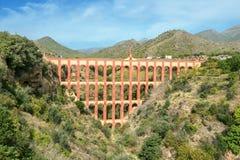 Stary akwedukt El Aguila Eagle w Nerja Malaga prowincja, Sp Fotografia Stock