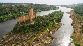 Stary Almourol kasztelu widok z lotu ptaka Portugalia Obraz Royalty Free