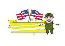 Stary Amerykański wojsko mężczyzna z USA flaga i sztandaru wektoru ilustracją Obraz Stock