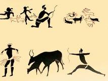 Stary antyczny brązowego wieka ściany petroglif w Tamanrasset Algieria Tamanrasset dużo jaskiniowy th fotografia stock