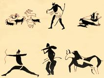 Stary antyczny brązowego wieka ściany petroglif w Tamanrasset Algieria Tamanrasset dużo jaskiniowy th obraz royalty free