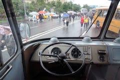 Stary autobusowy wnętrze pokazywać przy Moskwa transportu dnia świętowaniem Fotografia Royalty Free