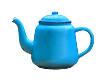 Stary błękitny czajnik, odizolowywający na białym tle Zdjęcie Stock