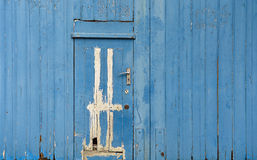 Stary błękitny drewniany drzwi A mały drzwi drzwi Fotografia Stock