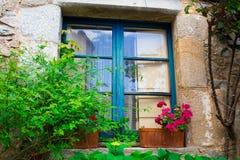 Stary błękitny drewniany okno z kwiatami na fasadzie Zdjęcie Royalty Free