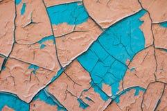 Stary błękitny i różowy farby tekstury zbliżenie błękitny i różowy krakingowy Fotografia Royalty Free