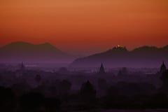 Stary Bagan krajobrazu zmierzch obrazy royalty free