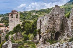 Stary bar Rujnujący miasteczko w Montenegro Obrazy Royalty Free
