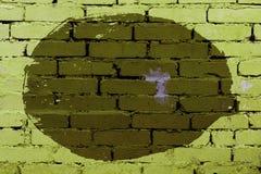 Stary barwiony tło nierówny okrąg na ścianie z cegieł zdjęcia royalty free