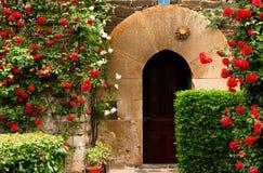 Stary Baskijski drzwi w kurenda wapniu otaczającym kwiatu łóżkiem i winnicą czerwone róże w Renesansowym domu pełno zdjęcia royalty free